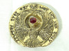 Indiana Jones, Staff of RA Headpiece, Antique Gold, Solid Metal, Red Jewels, Display Plaque, Stand and Easel