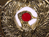 Indiana Jones, Staff of RA Headpiece, Antique Gold, Solid Metal, Red Jewels, Display Plaque and Easel