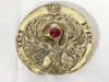 Indiana Jones RA Headpiece, Antique Gold, Solid Metal, Red Jewel, Staff Stand, Plaque and Stand