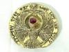 Indiana Jones RA Headpiece, Antique Gold, Solid Metal, Red Jewel, Staff Stand and Display Plaque