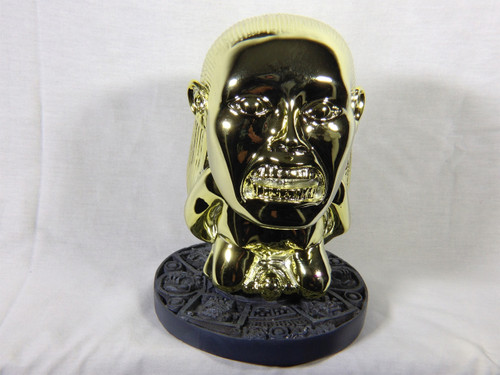 Raiders of the Lost Ark, Golden Idol of Fertility Statue, Shiny Gold Plated Version, Solid Resin, Circular Jungle Stand, Limited Edition