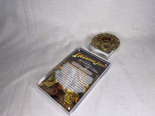 Indiana Jones, Staff of RA Headpiece, Antique Gold, Solid Metal, Amber Jewels, Display Plaque and Item Stand