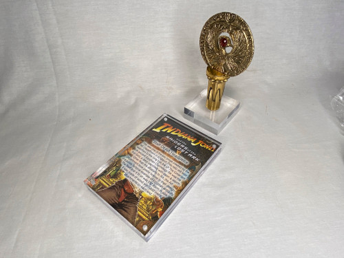 Indiana Jones RA Headpiece, Antique Gold, Solid Metal, Amber Jewel, Staff Stand, Plaque and Stand