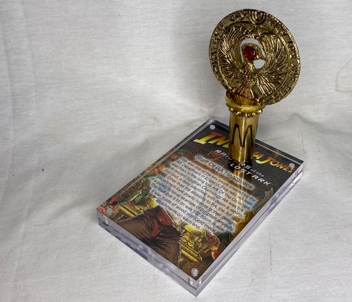 Indiana Jones RA Headpiece, Antique Gold, Solid Metal, Amber Jewel, Staff Stand, Plaque