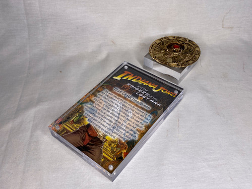 Indiana Jones, Staff of RA Headpiece, Antique Gold, Solid Metal, Red Jewels, Display Plaque and Item Stand