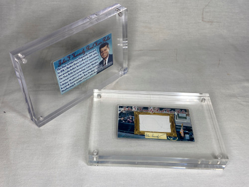 John F. Kennedy Real Hair Relic, 4x6 Acrylic Frame, 10 Pages of Historical Documentation