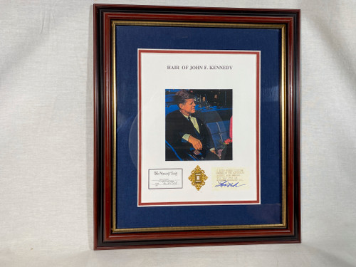 John F. Kennedy Real Hair Relic, Framed and Matted, 10 pages of Historical Documentation