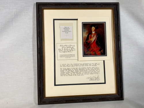George Washington Real Hair Relic, Style B, Framed and Matted, 8 pages of Historical Documentation