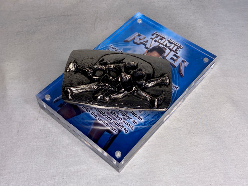 Tomb Raider, Skull and Crossbones Belt Buckle, Real Prop Replica, Acrylic Display Plaque, Metal, Silver, Signed, Numbered, Limited Edition