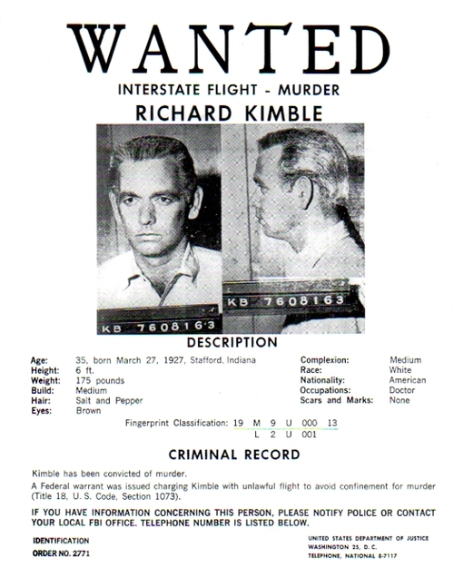 The Fugitive TV Series Real Prop Wanted Poster, David Jansen