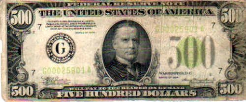 $500 Bill, Series 1934, United States of America Currency