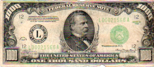 $1000 Bill, Series 1934, United States of America Currency