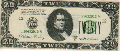 007 James Bond, A View To A Kill, Real Prop $20 Bill Note, Very Cool