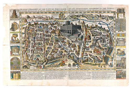 Ancient Graphic Color Map of Jerusalem 1770, Style A, Shows Ancient Religious Sites