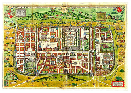 Ancient Templar and Biblical Maps of Jerusalem, Shows old Sites, Two Maps Combined
