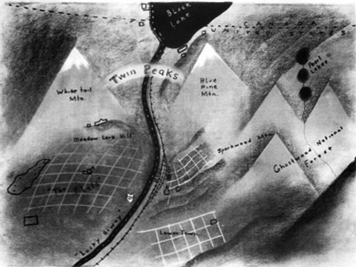 Twin Peaks TV show Map, by David Lynch, Very Detailed, PDF Download