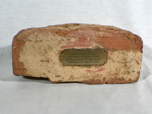 Bonnie and Clyde Brick From Funeral Home where Embalmed and Shown