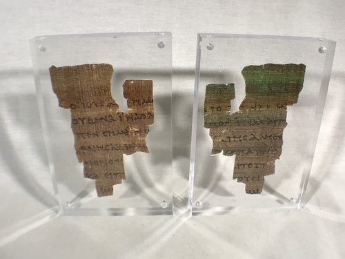 St John Fragment the Oldest New Testament Piece Papyrus Replica, With Acrylic Display Plaque