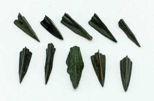 Roman Republic Bronze Arrowheads, c. 1st Century BC, Nice Dark Patina, Real Relic