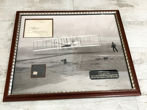 Wright Brothers Flyer Swatch, Signed Letter, Framed, Complete Documentation