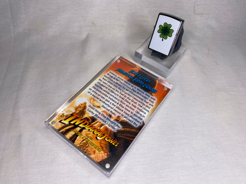 Indiana Jones, Elsa Lucky Shamrock Zippo Lighter, Acrylic Display Plaque and Stand, Jungle Easel, Limited Edition