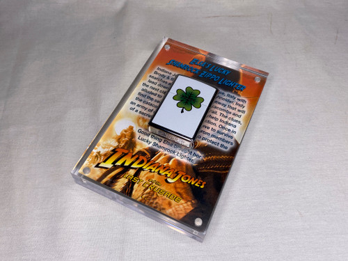 Indiana Jones, Elsa Lucky Shamrock Zippo Lighter, Acrylic Display Plaque, Numbered, Signed, Limited Edition