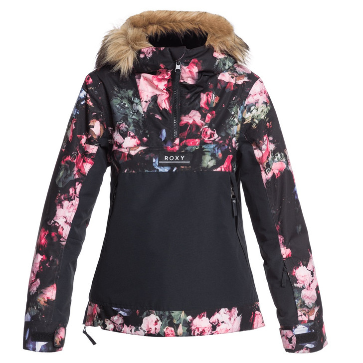 2021 Roxy Shelter Girls True Black Blooming Party Jacket