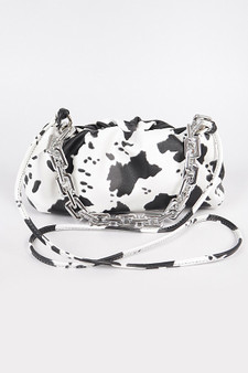 Faux Leather Cow print Clutch with chain