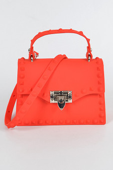Ty Monotone Studded Clutch - Red