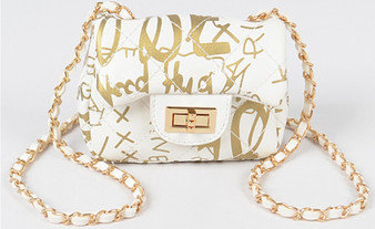 Laya Metallic Print Mini Bag - Gold & White