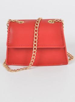 Tia Faux leather mini clutch - Red
