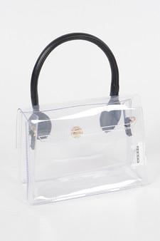 Moriah Black handle transparent clutch