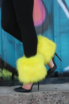 Yellow Fur ankle length leg warmers