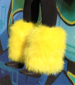 Yellow Fur mid-ankle Leg Warmers