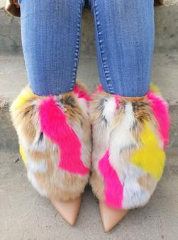 Fuchsia Nude Mix  Mid ankle Fur Leg Warmers