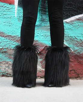 Black Long Fur Mid ankle leg warmers