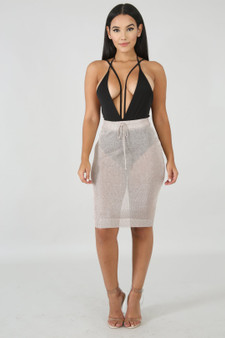 Gold shimmy cover up skirt small