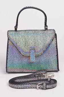 Natalie Snakeskin mini clutch - Silver