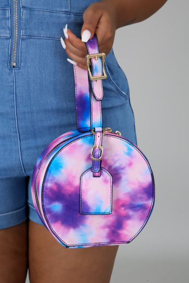 Farrah tye dye round clutch pink