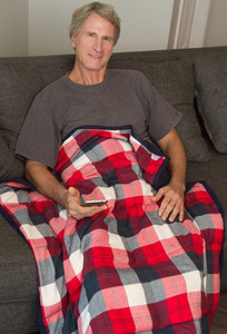 Red & Navy Plaid Flannel Weighted Blanket