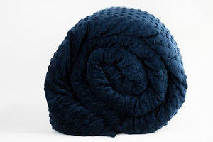 Navy Minky Mosaic Weighted Blanket