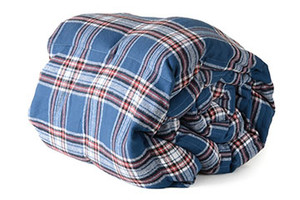 Slate Blue & Red Cotton Plaid Weighted Blanket