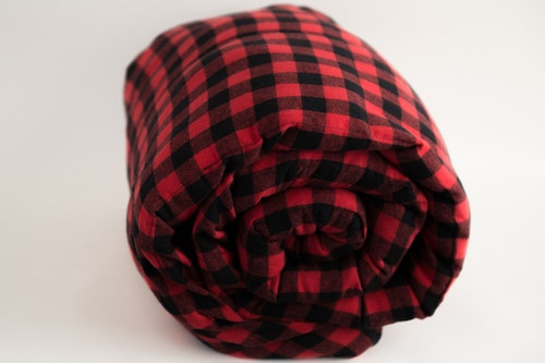 Big Red Plaid Cotton Weighted Blanket