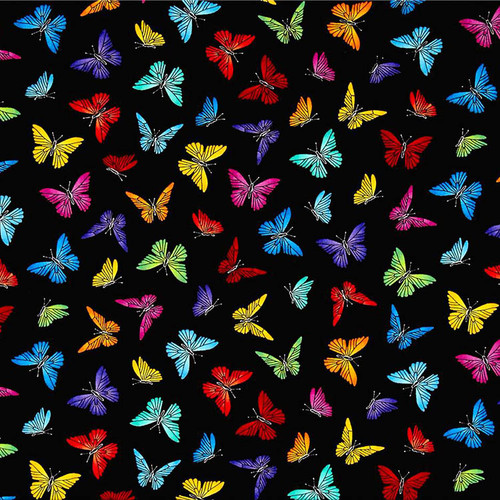 Black Weighted Blanket With Colorful Butterfly Pattern