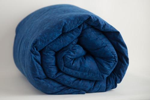 Navy Blue Marble Cotton Weighted Blanket