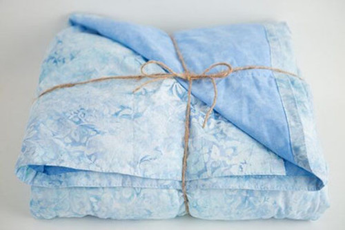 Sky Blue batik with light blue marble Weighted Blanket