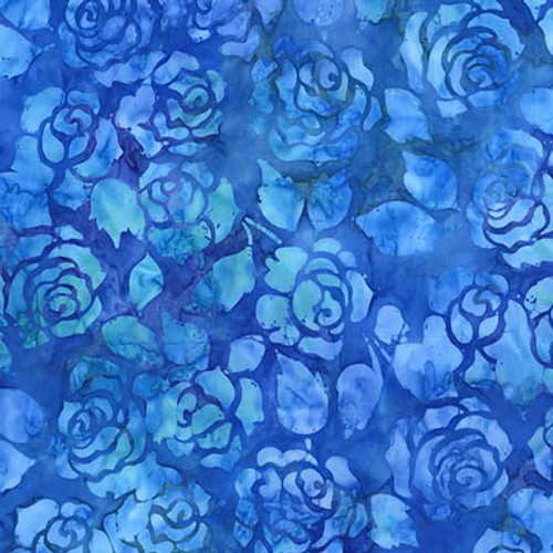 Blue Roses Batik 100% Cotton Mosaic Weighted Blanket