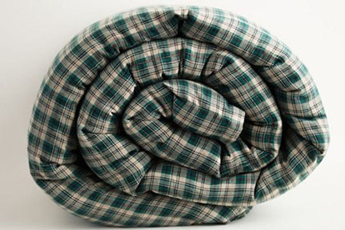 Green Khaki Plaid Cotton Weighted Blanket