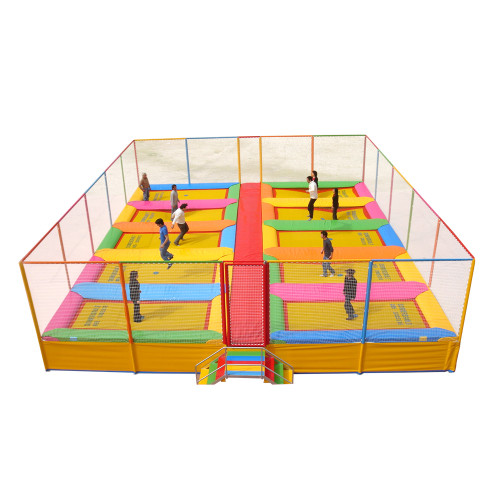 somersault trampoline system with 10 beds