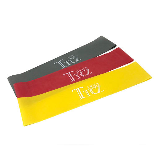 Pack of three resistance bands, yellow, red and grey